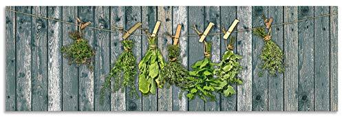 Artland Spritzschutz Küche aus Alu für Herd Spüle 160x50 cm Küchenrückwand mit Motiv Kräuter Pflanzen Gewürze Holzoptik Landhaus Shabby T5XN