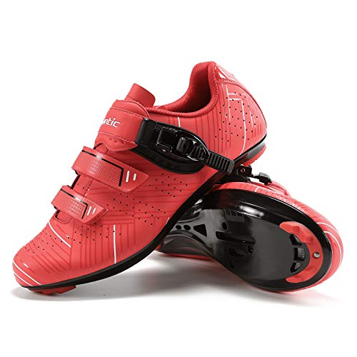 Santic Cycling Shoes Men's or Women's Road Cycling Riding Shoes Spin Shoes with Buckle- Roadway Red