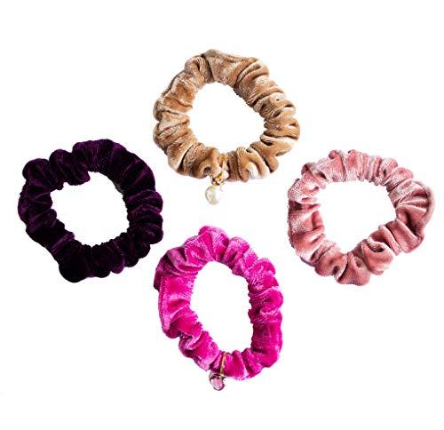 LIKERY 'PureVelvet' Scrunchies | Haargummis und Armbänder | Samt-Scrunchie | Rosa Zopfgummis | Samt-Haarband