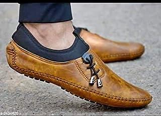 Havisha Men's Stylish Party Wear Tan Loafers Shoes (9)