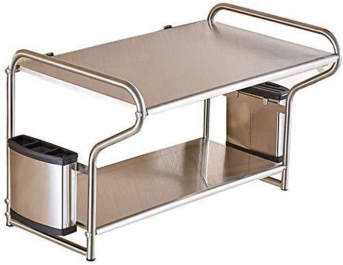 NOBRAND Home Keuken Rek RVS Ponsvrij Kruidenrek Wandmontage 2 Laag Magnetron Oven Rack Keuken Opslag Rek (zilver)