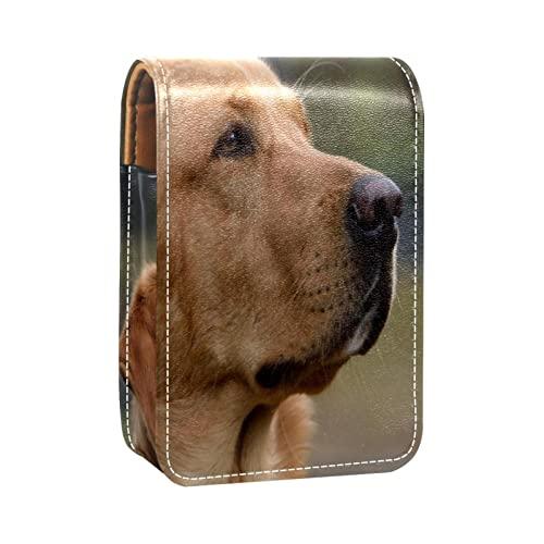 Estuche de lápiz labial con patrón de perro para lápiz labial exterior para monedero, mini bolsa de lápiz labial, bolsa de cosméticos de viaje con espejo para mujeres toma hasta 3 lápiz labial