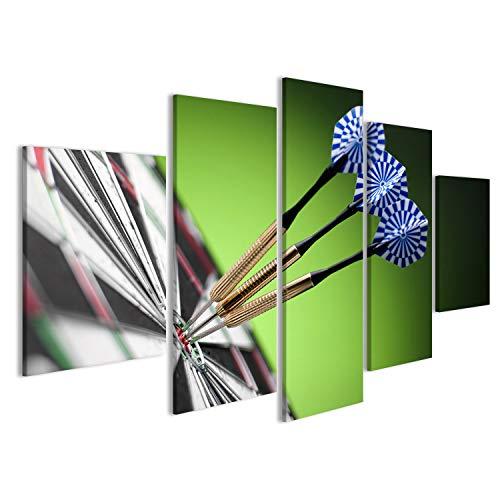 bilderfelix® Bild auf Leinwand Darts Pfeile im Zielzentrum Wandbild, Poster, Leinwandbild FOT
