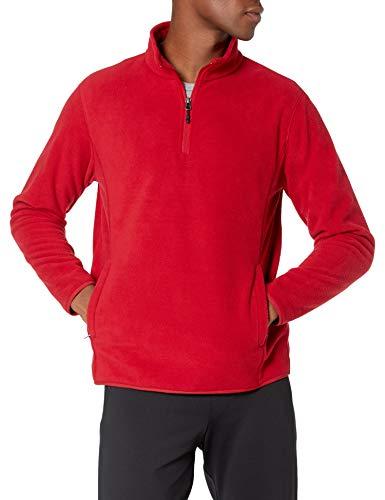 Amazon Essentials Men's Quarter-Zip Polar Fleece Jacket, Classic Red, Medium