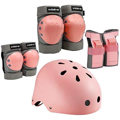 wildya Kinder fahrradhelm, Kleinkindhelm verstellbar für Kinder/Jugendliche/Erwachsene, Knieschoner, ellenbogenschoner, handgelenkschutz, Kinder schutzausrüstung Set für Skateboard (Pink, M)