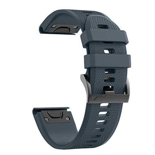 ANCOOL Compatible with Fenix 5 Band Easy Fit 22mm Width Soft Silicone Watch Strap Replacement for Fenix 5/Fenix 5 Plus/Forerunner 935/Approach S60/Quatix 5 - Slate
