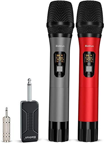 Bietrun UHF drahtlos Mikrofon Dual Handmikrofone aus Metall 50M Reichweite dynamische Funkmikrofone 6,35mm&3,5mm Stecker für Verstärker Mischpult PA-Anlage Karaoke Hochzeit Party Konferenzen Vortrag