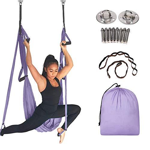 MQSS Amaca per Pilates, Yoga Amaca Yoga Silks Pilates Hammock oscillazioni carico Aerial Yoga Anti-gravità con moschettoni e Daisy Chain