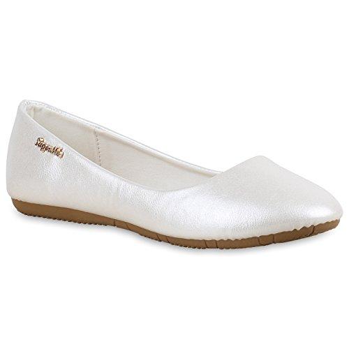 stiefelparadies Klassische Damen Ballerinas Leder-Optik Flats Übergrößen Flache Slipper Spitze Prints Strass Schuhe 138375 Weiss Metallic 36 Flandell
