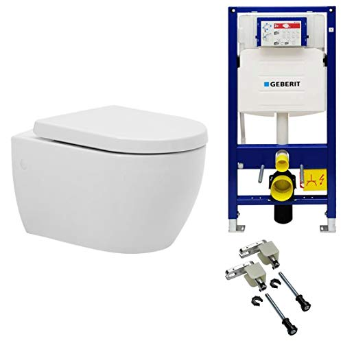 Spülrandloses WC inkl. GEBERIT Duofix UP320 111300005 Spülkasten für Trockenbau und Geberit 111.815.00.1 Vorwandmontage-Bausatz | inkl. abnehmbaren WC-Sitz mit sanft schließender Absenkautomatik