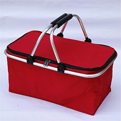 EMFGJ Faltbarer Picknickkorb Oxford Stoff Einkaufskorb mit Deckel Isolierte Tasche Reißverschluss Aufbewahrungsbehälter für Lebensmittel, Getränke, Camping, Einkaufen, Reisen,rot