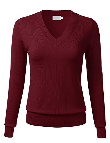 FLORIA Women's Soft Basic Thick V-Neck Pullover Long Sleeve Knit Sweater Burgundy M