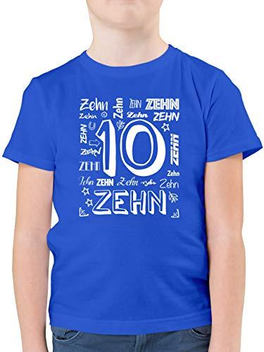 Geburtstag Kind - 10. Geburtstag Zahlen - 152 (12/13 Jahre) - Royalblau - 10 Geburtstag mädchen - F130K - Kinder Tshirts und T-Shirt für Jungen