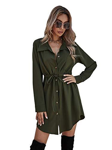 SOLY HUX Vestido de camisa para mujer, elegante, cuello en V, manga larga, para otoño, túnica, con cordón, monocolor, para tiempo libre, botones Verde militar. XL