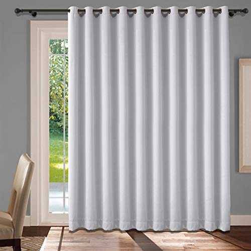 Cololeaf Extra Wide Blackout Curtains for Patio Sliding Door Extra Wide Curtains for Living Room Energy Saving Grommet Top Curtain for Gallery Hall Guest Room - Greyish White 100W x 96L Inch (1 Panel)