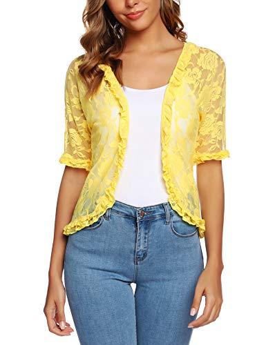 URRU Women's Lace Crochet Cardigan Ruffle Half Sleeve Open Front Casual Bolero Shrug Yellow L