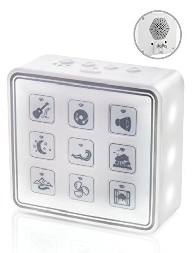 Portable & Compact Plug-In Nightlight White Noise Sound Machine-Relaxing Sleep Therapy for Adults & Baby w/9 Natural Sound Settings, Auto Timer, Headphone Jack & USB Cord  For Home & Travel (white)