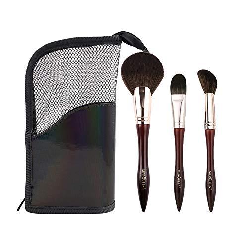 LXC Outil d'application cosmétique 3 pièces - Pinceau de Fond de Teint/Pinceau de surbrillance/Pinceau à Poudre Libre, matériau en Laine Ultra-Fine, avec Un Sac de Rangement, Pinceau de Maquillage