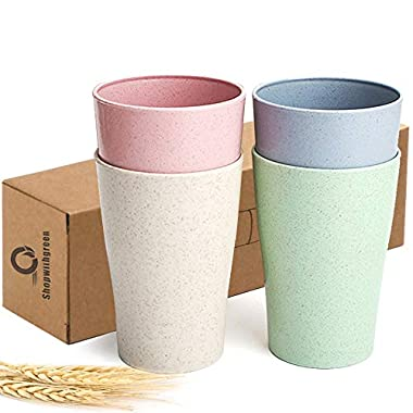 Shopwithgreen Wheat Straw Unbreakable Cup for Kids Adult (13.5 OZ), Set 4-Multicolor Reusable Cup, Dishwasher Safe