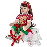 ADZKOO Muñeca Reborn de Pelo Rizado de 60 cm, muñeca de niña pequeña en Vestido de Navidad, Cuerpo de Tela, Silicona Suave, Regalo Realista para bebés, Juguete para Jugar a Las Casitas Nice Family