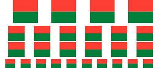 Mini Aufkleber Set - Pack glatt - 4x 51x31mm+ 12x 33x20mm + 10x 20x12mm- Sticker - Madagaskar - Flagge - Banner - Standarte fürs Auto, Büro, zu Hause & die Schule - Set of 26