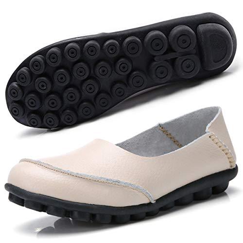 Hsyooes Damen Mokassin Bootsschuhe Leder Loafers Fahren Flache Schuhe Halbschuhe Slippers Erbsenschuhe, Beige 9, (Herstellergröße: 43/42.5 EU)