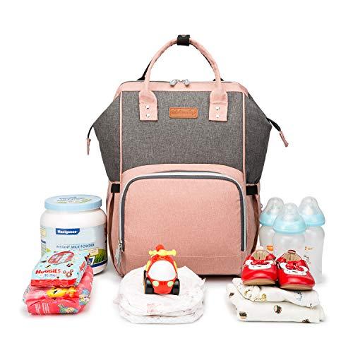 AOCKS Bolsa de pañales organizadora aislada impermeable mochila de viaje de gran capacidad para el cuidado del bebé, multifunción, elegante y duradero, (Rosado/Gris), Large