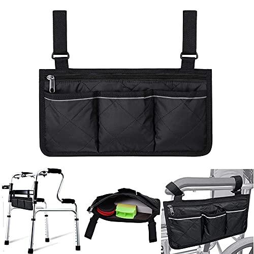 Bolsa de almacenamiento para silla de ruedas, impermeable bolsa lateral para silla de ruedas, duradera organizador de almacenamiento para sillas de ruedas, bolsa de apoyabrazos para silla de ruedas