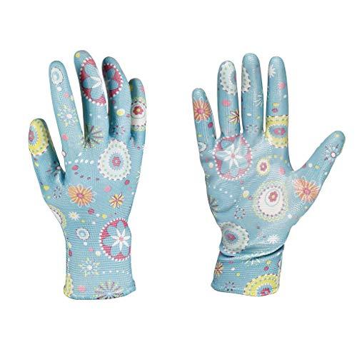 Cogex 90351 Gants DE Jardin en Polyester Enduit DE Nitrile Bleu Motif Fleurs T8