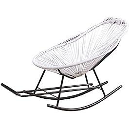 Chunjiao Inclinable inclinable de rotin blanc rotin chaise à rotule de jardin meubles avec repose-pieds et accoudoir…