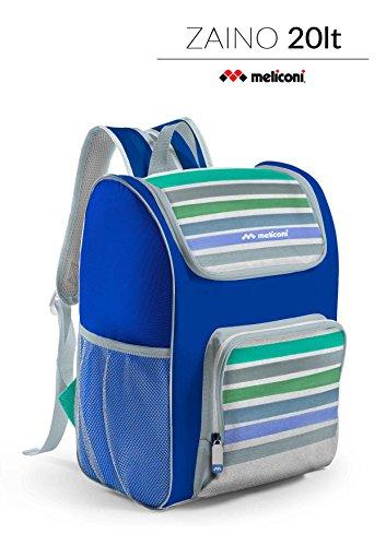 Meliconi Zaino/borsa Termica 20 Lt Eco, 20 x 32 x 36 cm, decoro a righe, con rivestimento in PEVA Spessore 6 mm. Con ampia tasca esterna con zip e retine laterali