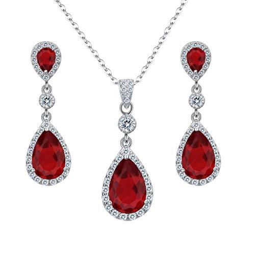 Clearine Damen 925 Sterling Silber Hochzeit Braut Cubic Zirconia Unendlichkeit Tropfen Anhänger Halskette Dangle Ohrringe Schmuck Set Rubin Rot