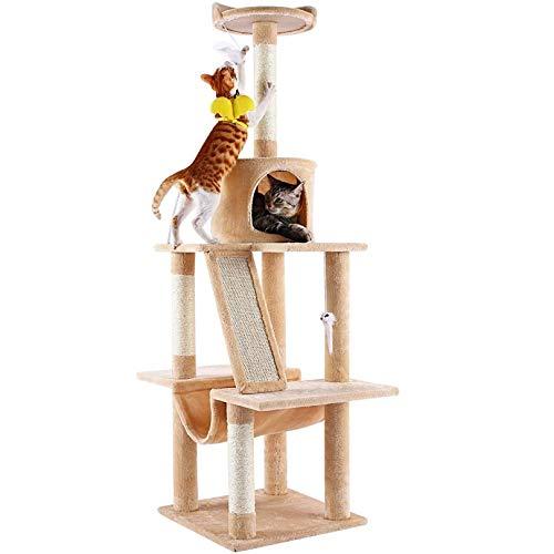 Petoru キャットタワー 猫タワー 爪とぎ 猫ハウス 据え置き 多頭飼い 麻紐 ストレス解消 ネコの遊園地 安定性抜群 頑丈耐久 天然サイザル おしゃれ 省スペース (ベージュ)
