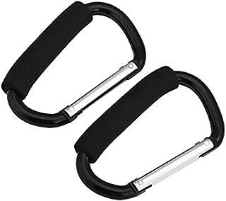 2pcs in Pack Universal Large Buggy Clip Pram Pushchair Shopping Bag Hook Carabiner (Black 14cm)