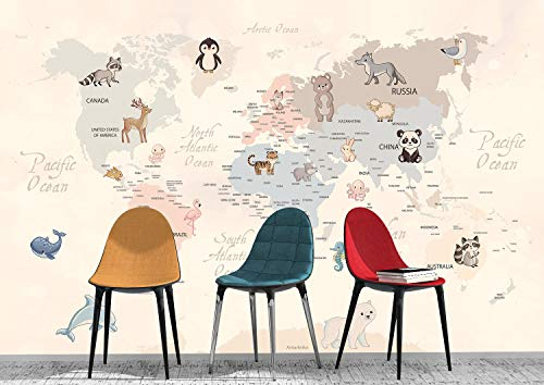 Oedim Fotomural Infantil Vinilo para Pared Animales en Continentes | Mural | Fotomural Infantil Vinilo Decorativo | 200 x 150 cm | Decoración comedores, Salones, Habitaciones