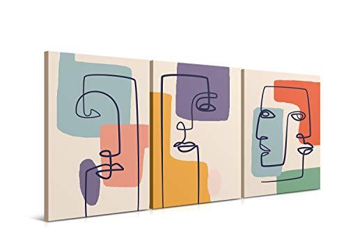 Cuadros Decorativos de Arte Abstracto Moderno - 30 x 40 x 2 cm (Pack 3) - Decoración de Pared para Salón, Dormitorio, Cocina y Baño - Lienzo de Poliéster y Bastidor de Madera, LEN-018-FANGLIAN ✅