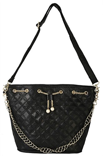 Diophy PU Leather Gold Metal Chain & Pearls Décor Quilted Womens Purse Handbag LE-2908 Black