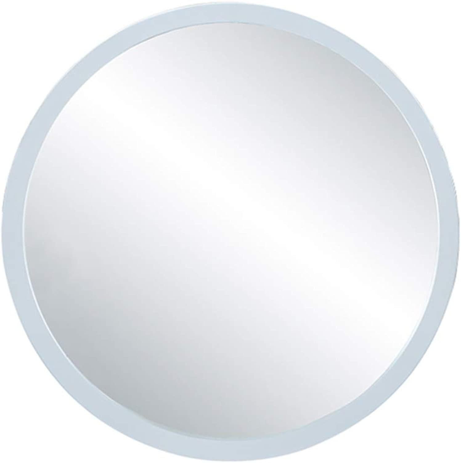 Wall Mirror Simple Wall Hanging Mirror Wooden Frame Dressing Table Mirror Living Room Round Decorative Mirror Wall White Round Silver Mirror (color   White, Size   40cm 15.7inches)