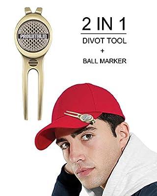 prowithlin Golf Divot Tool w/Golf Ball Marker, Zinc Alloy Exquisite Golf Gift for Dad | Divot Repair Tool(Bronze II)