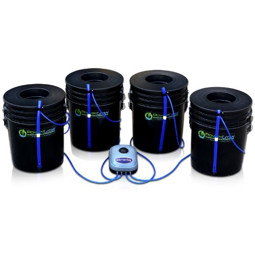 Deep Water Culture (DWC) Hydroponic Bubbler Bucket Kit by PowerGrow Systems (4) 5 Gallon - 6' Buckets