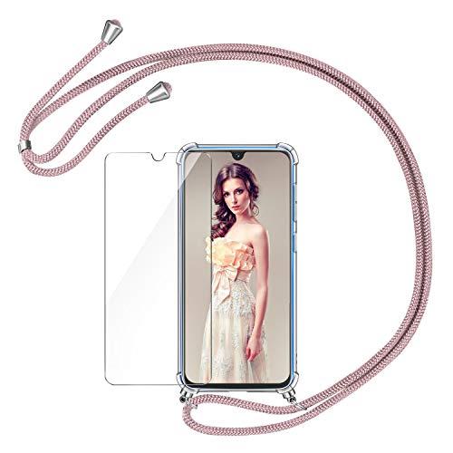 AROYI Funda con Cuerda para Samsung Galaxy A40 + Protector Pantalla, Carcasa Transparente TPU Silicona Case con Colgante Ajustable Collar Correa de Cuello Cordón para Samsung Galaxy A40 - Oro Rosa