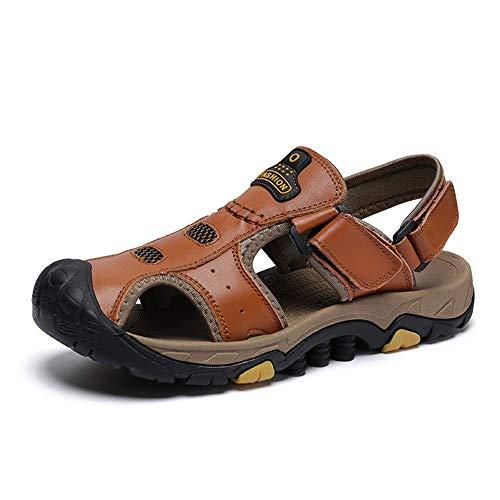 Xingyue Aile Zapatillas y sandalias Sandalias de playa de verano para hombres, transpirables al aire libre, con punta cerrada, gancho y correa para caminar Caminando Zapatilla de pescador antideslizan