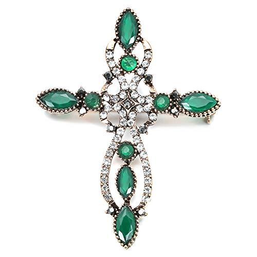 Broche De Cruz Barroca De Oro Antiguo De Nueva Llegada Para Mujeres Moda Rhinestone Brooches Pin Vintage Regalo De Joyería De Boda