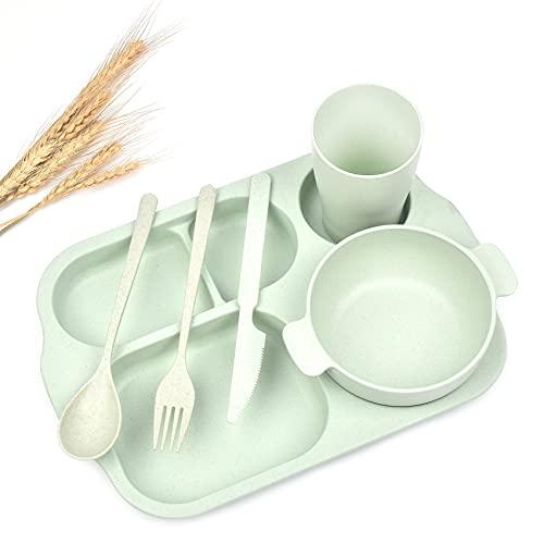 Juego de vajilla de material plástico de paja de trigo, vajilla ligera y firme, platos divididos, platos y cuencos para niños pequeños, juego de vajilla de 6 piezas, ideal para niños y adultos (verde)