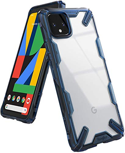 Ringke Fusion X Designed for Google Pixel 4 XL Case, Rugged TPU with Crystal Clear PC Protection for Google Pixel 4XL Case (2019) - Space Blue