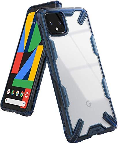 Ringke Fusion-X Kompatibel mit Google Pixel 4 XL Hülle, Transparente Rückseite Cover mit TPU Stoßfest Flexibel Rahmen Pixel 4XL Schutzhülle - Space Blue