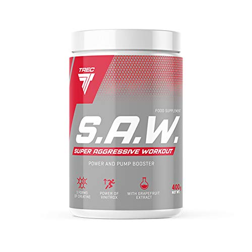 S.A.W. POWDER 400g MUSCLE, STRENGTH SUPER AGGRESSIVE WORKOUT SAW TREC NUTRITION FREE P&P