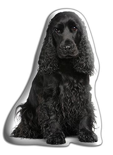 """Cocker Spaniel (Black) Dog Gift – Beautiful Large Cuddle Cushion – Luxurious strokable shaped cushions, approximate size: H460mm x W400mm (18' x 16"""")"""
