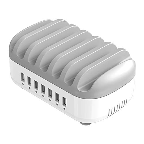ORICO USB Charging Station Dock 7 Ports Fast Charging Dock for Multiple Devices, Smart Charger Organizer with 5 Short Charger Cables Compatible for Apple iPad iPhone Android Phone (White - 7 USB Port)