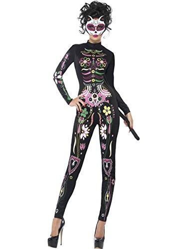 Smiffys Costume de chat Sugar Skull, avec combinaison imprimée